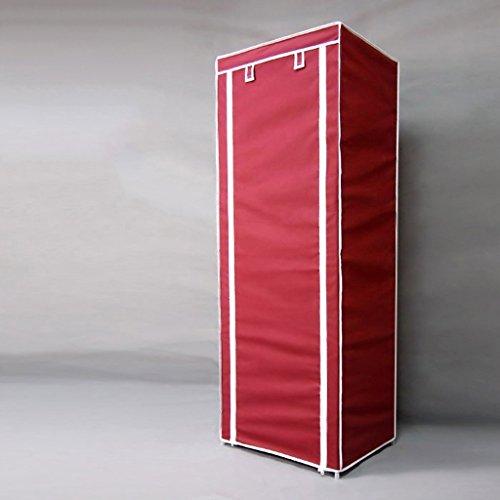 Guardarropa QFF Pequeño Marco de Acero Reforzado Tejido Grueso Estudiante Simple Dormitorio Paño Armario Plegable Asamblea Armarios (Color : Vino Rojo)