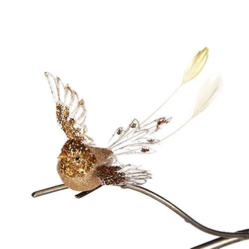 Goodwill Glitzer Fliegender Vogel auf Parade Silber & Weiß feathererd 15cm Clip auf Weihnachten Dekoration–NEUE für 2016 (Glitzer-vogel-ornament)