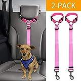 Docamor verstellbarer Hunde-Sicherheitsgurt fürs Auto, Hundegeschirr, Auto-Sicherheitsleine für Hunde oder Katzen, verstellbar von 45,7 bis 76,2 cm (Rosa)
