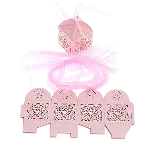 westeng 50pcs Laser taglio carta matrimonio caramelle Hollow Cuore Festa Di Nozze Regali scatole per Bomboniere con nastri