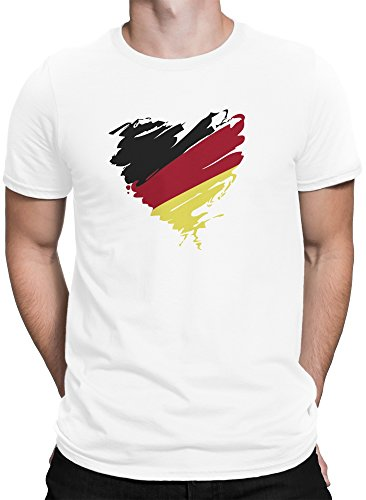 vanVerden Herren T-Shirt Fußball Weltmeisterschaft 2018 Deutschland WM Trikot Herz plus Geschenkkarte, Color:Schwarz, Größe:L