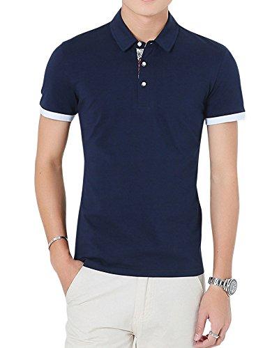 Herren Freizeit Slim Fit Kurzarm Poloshirts T-Shirts Men'S Basic Polo Shirt Blau