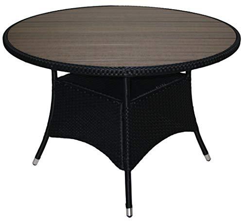 KMH®, Runder Gartentisch *Bobo* mit schwarzem Polyrattan und graubrauner Tischplatte (Ø 110cm) (#106164)
