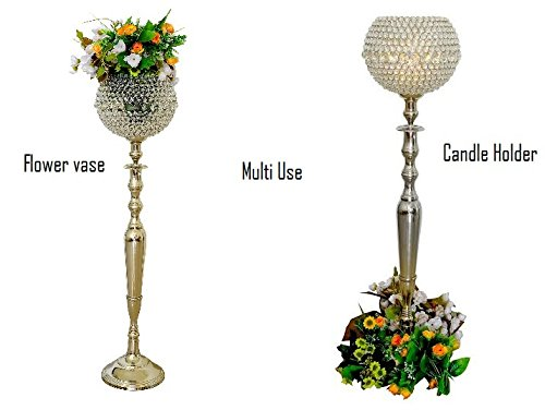 Multi Purpose Large Glass Crystal Gobe Floor Pillar Candle Holders & Flower Vase Floral Holders Wedding Centrepieces 105cms