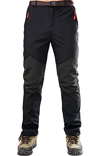 Micosuza Herren Softshellhose Fleece Wanderhose Winddicht Wasserdicht Softshell Outdoorhose, Schwarz, EU M=Label 1XL