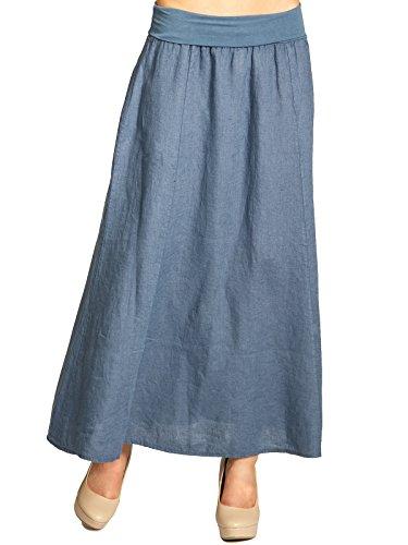 Caspar ro019 donna gonna lunga estiva di lino con elastico in vita, colore:blu jeans;dimensioni:xl - de42 uk14 it46 us12