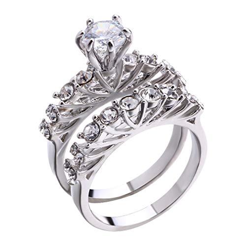 LIGHTBLUE Ladies Ring-Halo Design 2 pièces 9 Bague de fiançailles de Mariage abordable abordable, 6# - Jubiläum-diamant-band