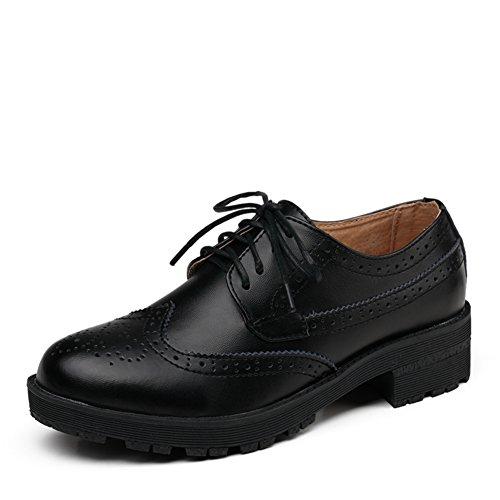 Vent de printemps chaussures rétro Angleterre/Brock chaussures femme/Chunky talons, cuir/Les souliers B