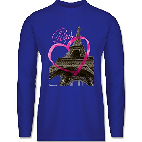 Shirtracer Städte - I Love Paris - Herren Langarmshirt Royalblau