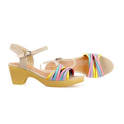 VogueZone009 Damen Weiches Material Offener Zehe Gemischte Farbe Mittler Absatz Sandalen Cremefarben