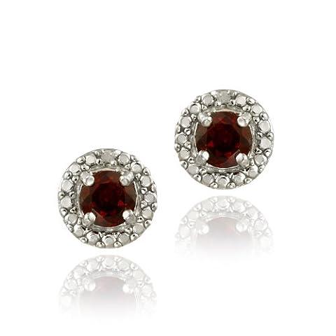 Sterling Silver Garnet & Diamond Accent Stud Earrings