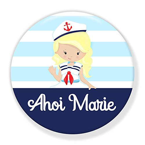 Segeln Meer Kostüm Piraten - Polarkind Button Pin maritimer Anstecker AHOI Marie 38mm Handmade