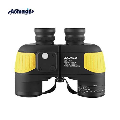 Aomekie Fernglas mit Nachtsicht Entfernungsmesser Kompass 7X50 BAK4 wasserdichte Ferngläser Feldstecher für Kinder Erwachsene mit Tasche und Gurt