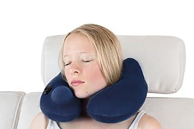 musegear pillow | Aufblasbares Nackenkissen aus superweichem Fleece mit hygienischer Pumpen-Technologie | für ruhigen Schlaf auf Reisen unterwegs in Bahn, Flugzeug, Zug | Reisekissen Nackenhörnchen