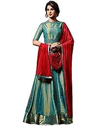 C&H Women's Green Banarasi Silk Embroidered Semi-stitched Anarkali Gown Salwar Suit