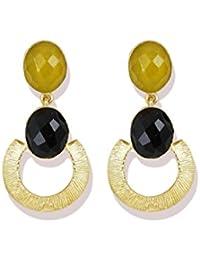 Zaveri Pearls Limited Edition Yellow Topaz & Black Onyx Semi Precious Dangler Earring For Women - ZPFK5338