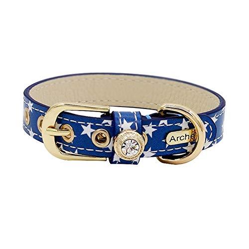 LANA Cute Echtes Leder Hundehalsband, Katzenhalsband, verstellbar mit Schnalle und Bling Diamond Blue mit weißen Sternen Muster für Haustiere Kitten Small Dogs Girl (Size : XS)