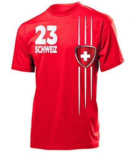 Golebros Schweiz Fanshirt Streifen 3217 Herren T-Shirt (H-R) Gr. XL