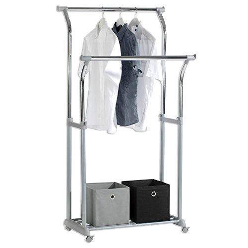 Garderobenständer Kleiderständer MERIDA mit 2 Kleiderstangen und 1 Ablage, Kunststoff, Metallrohr verchromt