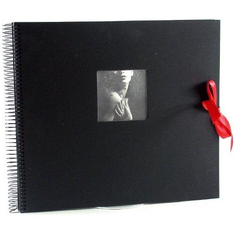Goldbuch Fotoalbum Dream schwarz Spiralalbum mit Leinen Einband und Fenster für individuelles Bild und Schleifenverschluss 34 x 30 cm