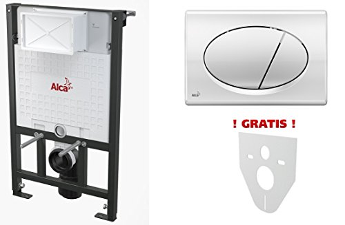 WC Vorwandelement für Trockenbau 85 cm inklusive Betätigungsplatte Chrom Glänzend Oval Unterputzspülkasten Spülkasten Wand WC hängend Schallschutz