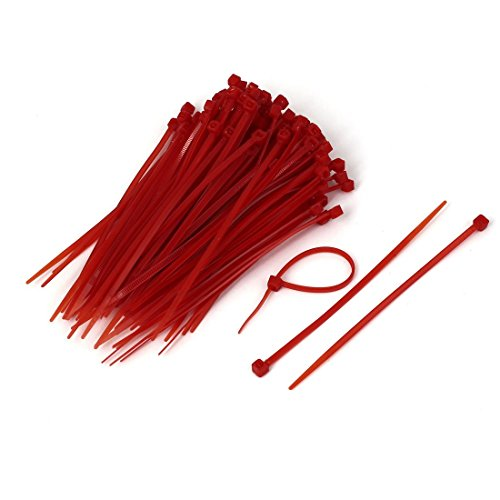 sourcingmap® 3mm Wide 100mm Long Self Locking Cable Wrap Zip Ties Red 100 Pcs Test