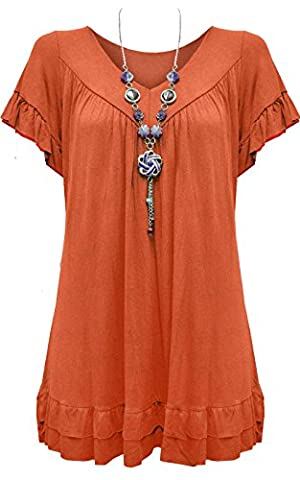 Womens Ladies Plus Size Frill Necklace Gypsy Ladies Tunic Short Sleeve Long V Neck Tops 12-22 (UK SIZE 12-14,