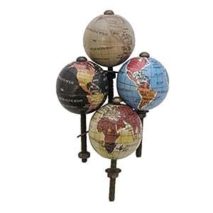 Lot de 4 boutons de porte en forme de Globe terrestre Vintage poignée Eclectic Atlas Meuble Upcycle