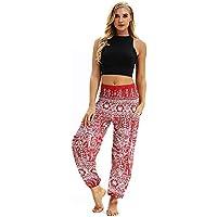 Chettova Hombres Mujeres Casual Boho Aladdin Pantalones de harén, Sueltos Pantalones Hippy Yoga