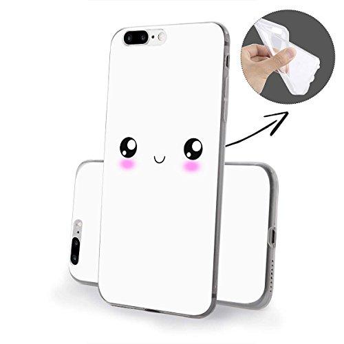 finoo   iPhone 8 Weiche flexible Silikon-Handy-Hülle   Transparente TPU Cover Schale mit Motiv   Tasche Case Etui mit Ultra Slim Rundum-schutz  Schmetterling bunt Smiley face