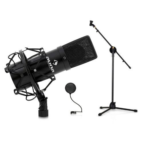 Auna MIC-900B Konzert- Bühnen-& Studio-Mikrofonset Kondensator USB Mikrofon mit Stativ und Mikrofonabschirmung (Mikrofonständer höhenverstellbar, Nierencharakteristik, Galgen verstellbar, inkl. Mikrofonspinne) silber