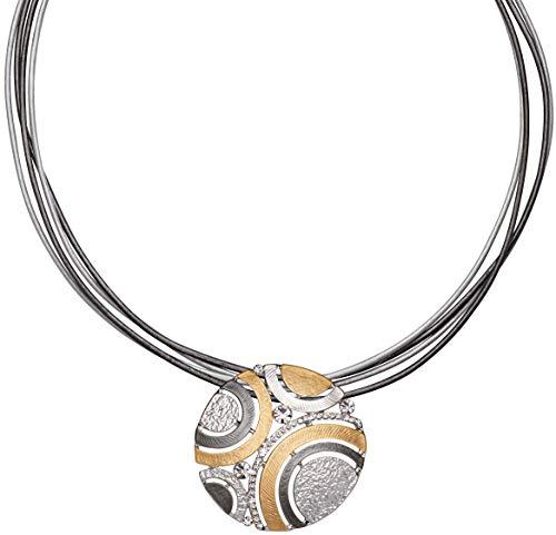 Perlkönig Kette Halskette | Damen Frauen | Silber Gold Farben | Kreisförmiger Anhänger | Zirkonia Stein | Bicolor | Nickelfrei