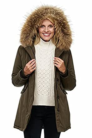 Elara Damen Winterparka | Jacke mit Echt Pelz / Echt Fell Kapuze | Designer Damenjacke | Gefütterte Outdoor Mantel | chunkyrayan, Größe 34, Farbe Marine Grün