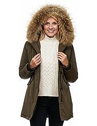 Elara Damen Winterparka   Jacke mit Echt Pelz Echt Fell Kapuze   Designer  Damenjacke   Gefütterte Outdoor Mantel  … 5c0276090b