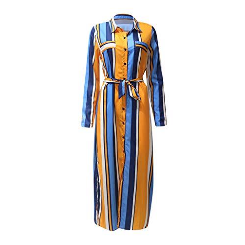 Committede Damen Langes Fashion Kleid Lässiges Kleider mit Mehrfarbigem Streifendruck Langärmliges Taschenkleid Hemdkleid Elegant Streifen Belted Business Kleid Partykleid -