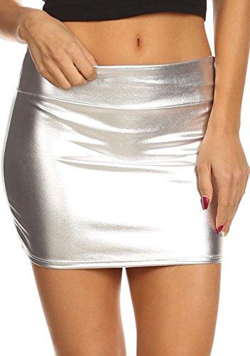 Sakkas 8255 - Kaie Frauen glänzende metallische Flüssigkeit Wet Look Minirock - Silber - L (Wet-look Spandex-stoff)