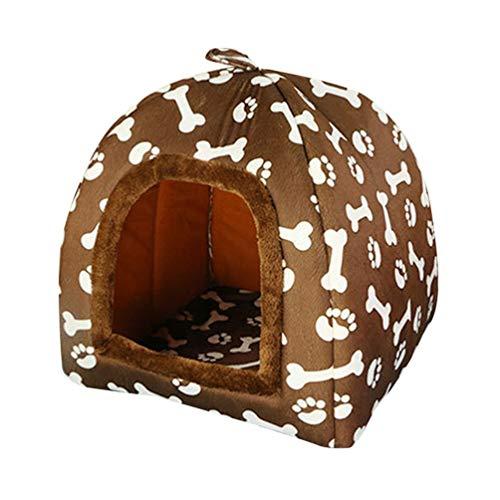 Jeelinbore stampato letto nido casa del cane e gatto animale domestico canile cuccia morbida (marrone, 47 * 47 * 45cm)