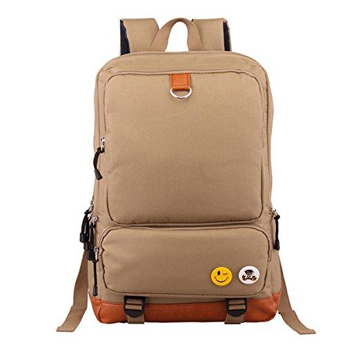 """Butterme Unisex Segeltuch -Rucksack-Rucksack-Schulwandertasche Schultasche College-Tasche passt 15.6 """"Laptop Khaki"""