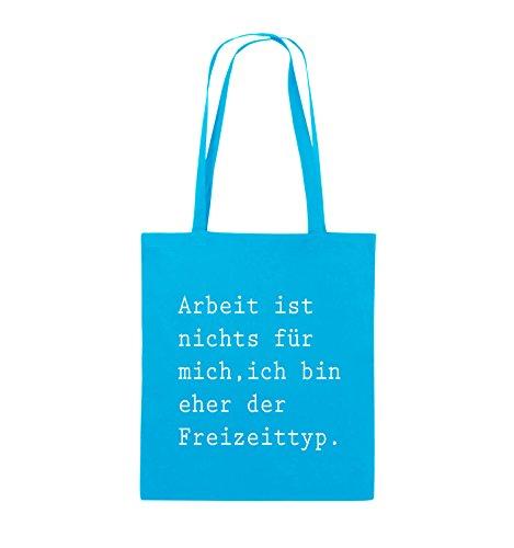Comedy Bags - Arbeit ist nichts für mich, ich bin ehr der Freizeittyp - Jutebeutel - lange Henkel - 38x42cm - Farbe: Schwarz / Silber Hellblau / Weiss