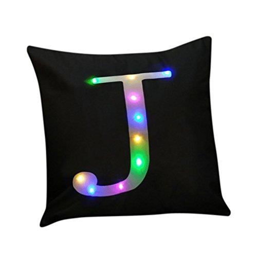 Lenfesh Taie d'oreiller - Housse de coussin de lettres initiales - LED créative allume l'impression taie d'oreiller en lin, 45cm*45cm (J)