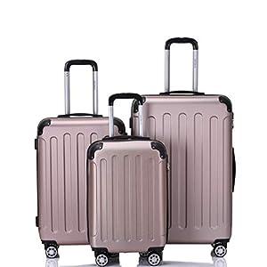 BEIBYE 2045 Hartschale Koffer Kofferset Trolley Reisekoffer Größe XL-L-M in 12 Farben (Rosa Gold, Set)