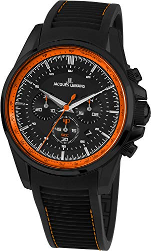 Jacques Lemans Liverpool Homme 44mm Bracelet Silicone Quartz Montre 1-1799U