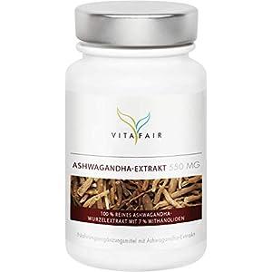 Ashwagandha Extrakt – 1650mg pro Tagesdosis – 90 Kapseln – 7% Withanolide = 115,5mg – Hochdosiertes 6:1 Extrakt – Vegan – Ohne Magnesiumstearat
