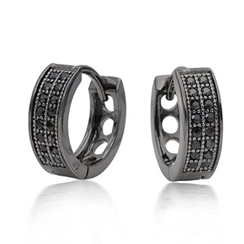 Bling Jewelry .925 Silver Black Micropave CZ Huggie Earrings Rhodium Plated