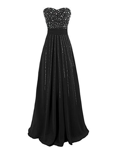Dresstells, Robe de soirée avec strass, robe de cérémonie, robe longue de demoiselle d'honneur Noir