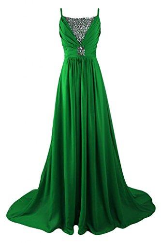 Sunvary una linea lungo chiffon Prom abito estivo con strass Green
