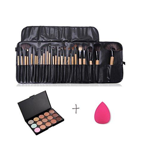 Gracelaza 24 Pcs Pinceaux Maquillage Trousse, 1 Éponge Fondation Puff + 15 Couleurs Palette de Maquillage Correcteur Camouflage Crème Cosmétique Set
