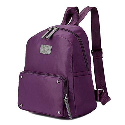 Korea edition leichtes Wasserdichtes Nylon Canvas Tasche oxford Tuch schulter Rucksack Travel Bag Purple -