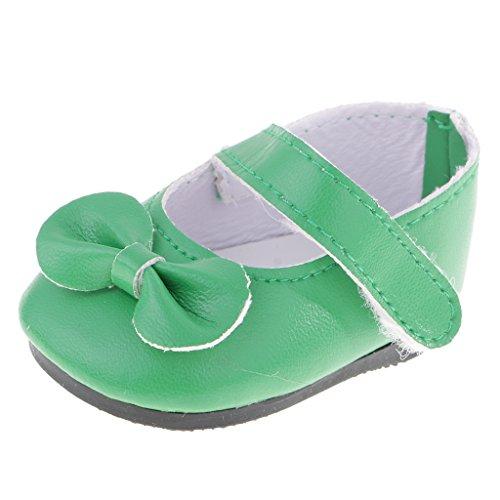 T TOOYFUL Sticky Strap Bow Schuhe Für 18 Zoll Doll Unsere Generation Puppenkleider - Grün -