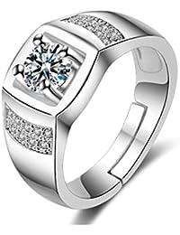 karatcart Platinum Plated Austrian Crystal Adjustable Ring for Men